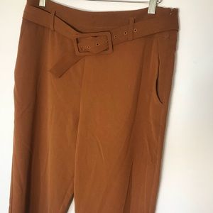 Elodie camel orange colored cropped trousers